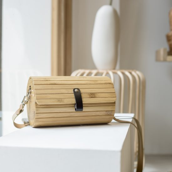 Handmade bamboo leather bag