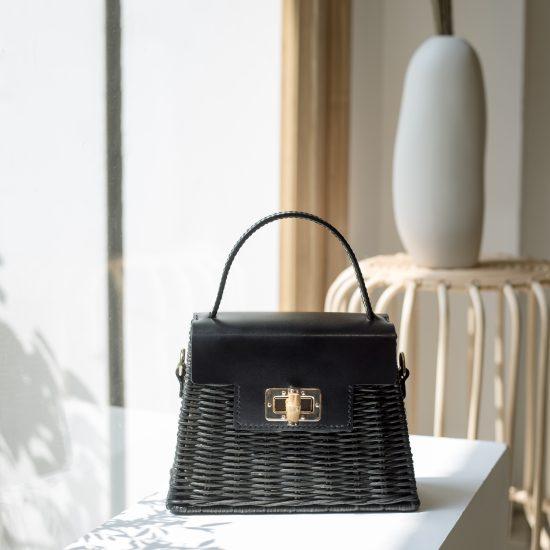 Handmade rattan leather bag